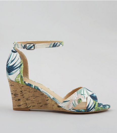 Green Tropical Print Cork Wedge Heels | New Look