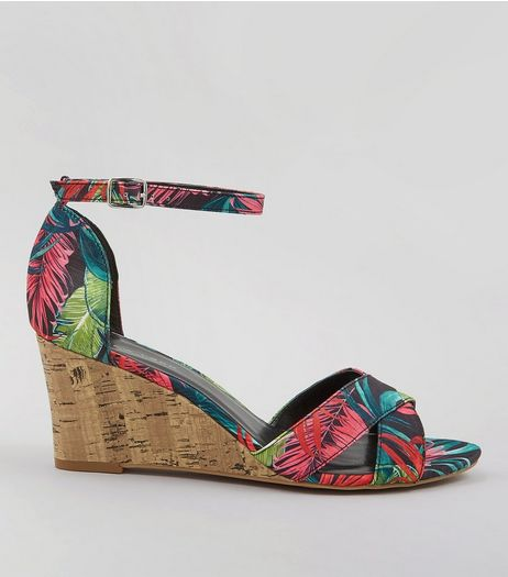 Pink Tropical Print Cork Wedge Heels | New Look