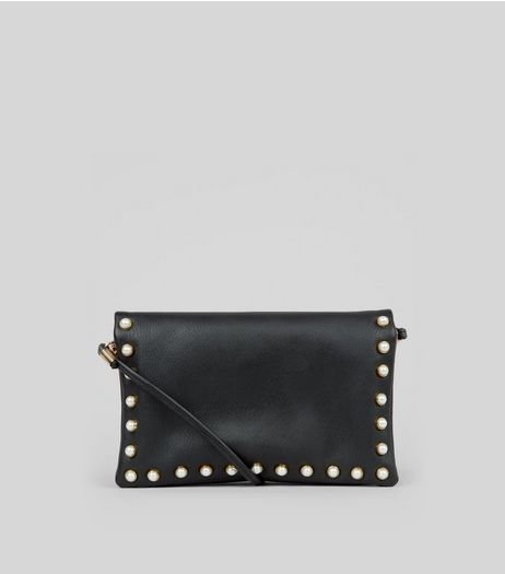 Black Pearl Stud Cross Body Bag | New Look
