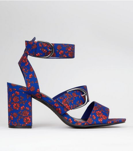 Blue Floral Print Multi Strap Chunky Block Heels | New Look