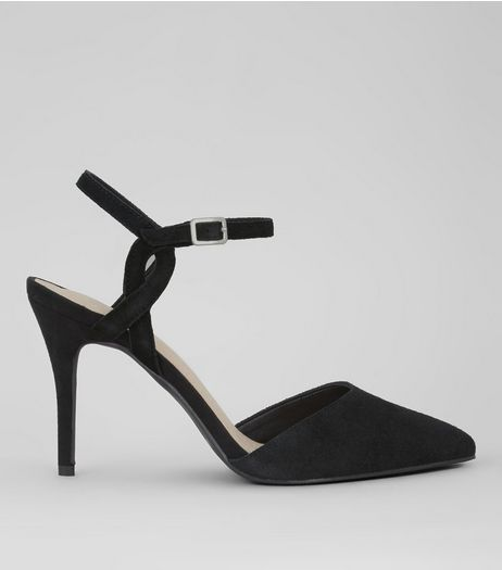Black Comfort Suede Cross Strap Side Heels | New Look