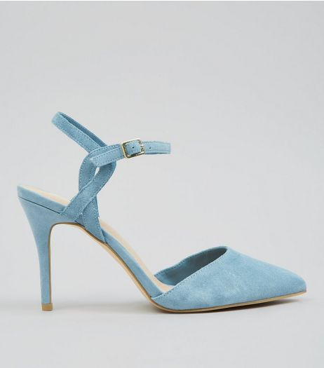 Blue Comfort Suede Cross Strap Side Pointed Heels | New Look