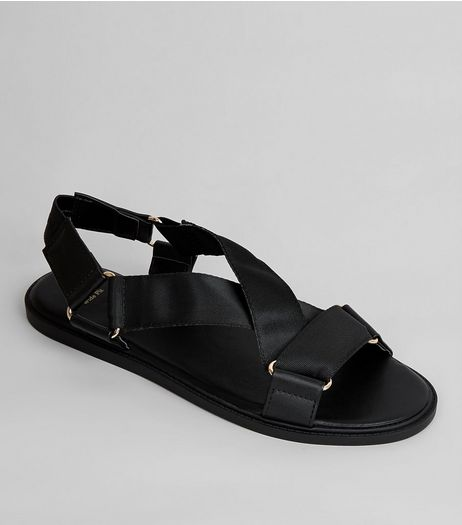 Wide Fit Black Ring Strap Footbed Sandals | New Look