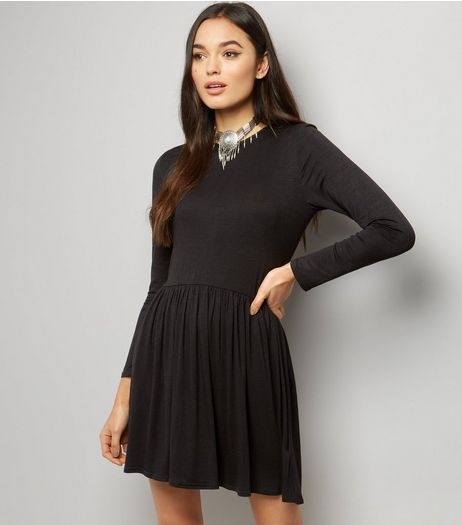 Black Long Sleeve Smock Dress | New Look