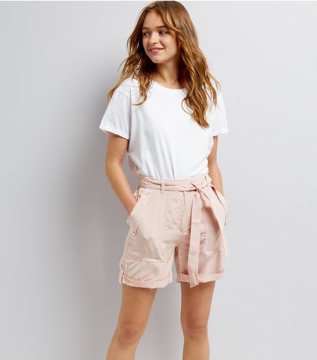 Mid Pink Tie Waist Shorts  | New Look