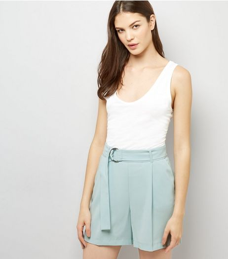 Mint Green Tie Waist Crepe Shorts  | New Look