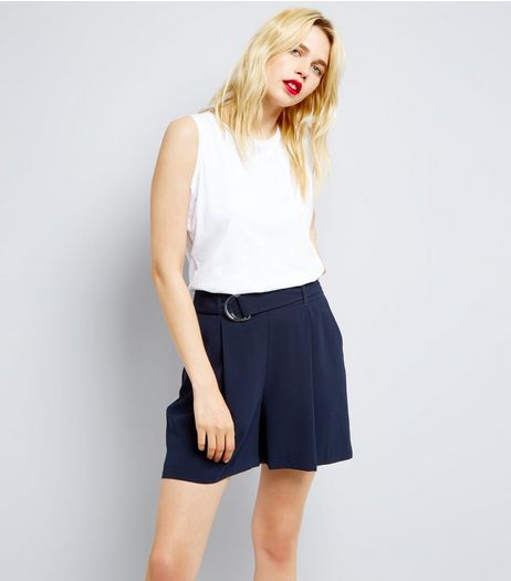 Navy D Ring Belt Pleated Shorts | New Look