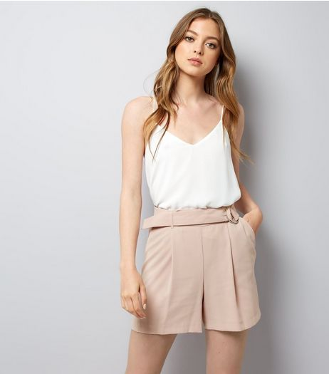 Mid Pink Crepe Tie Waist Shorts  | New Look
