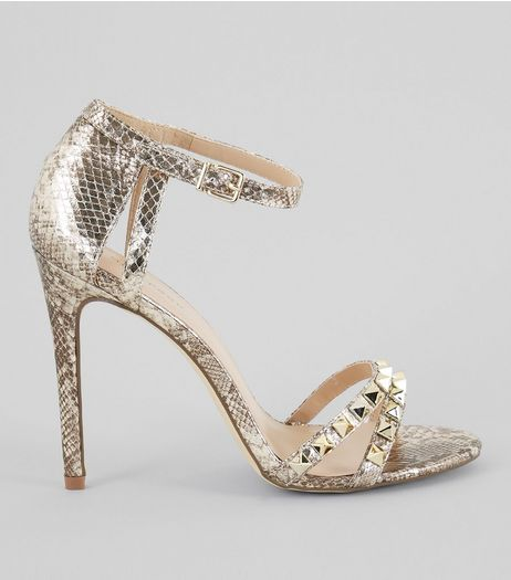 Gold Animal Print Studded Leather-Look Heels  | New Look