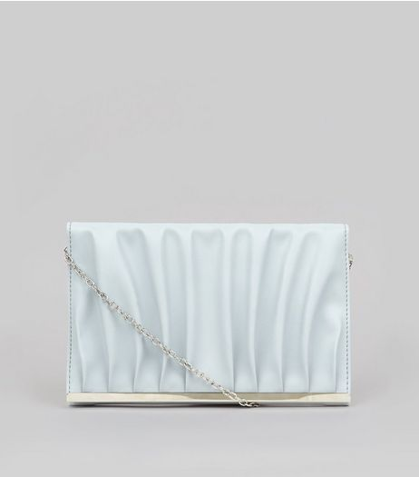 Pale Blue Gathered Clutch  | New Look