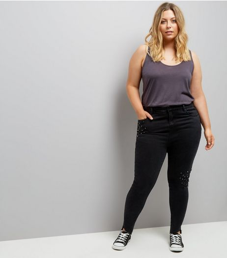 Curves Black Gem Beaded Angled Hem Skinny Jeans | New Look