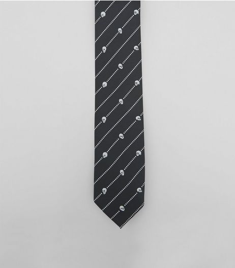 Black Skull Stripe Print Tie | New Look