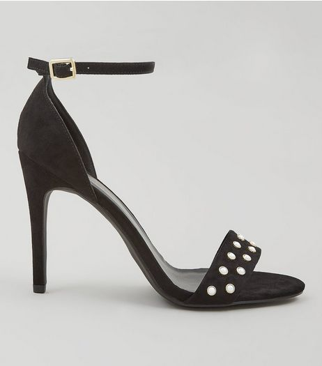 Black Suedette Pearl Stud Heeled Sandals | New Look