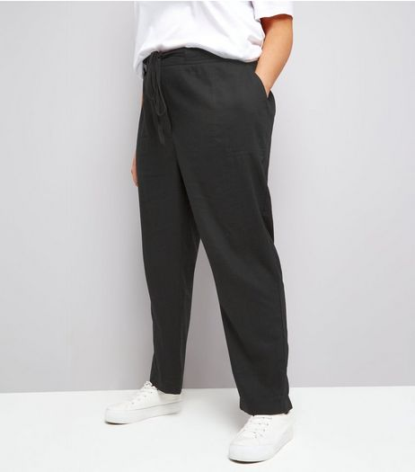 Curves Black Tie Waist Cropped Trousers | New Look