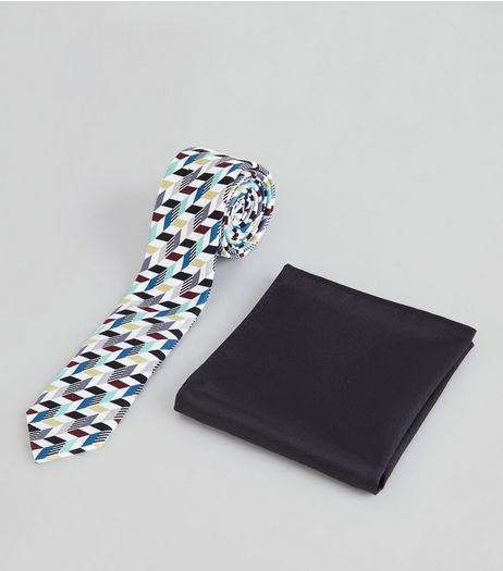 Multicoloured Geometric Tie and Pocket Square | New Look