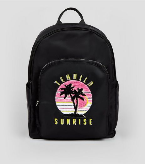 Black Tequila Sunrise Embroidered Backpack | New Look