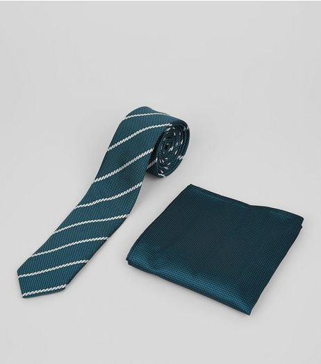 2 Pack Blue Stripe Tie and Pocket Square | New Look
