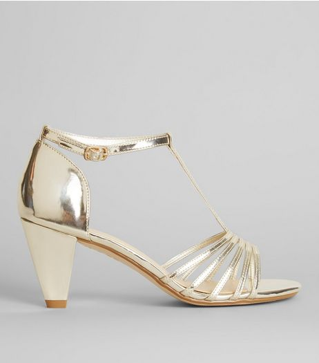 Teens Gold T-Bar Heels | New Look