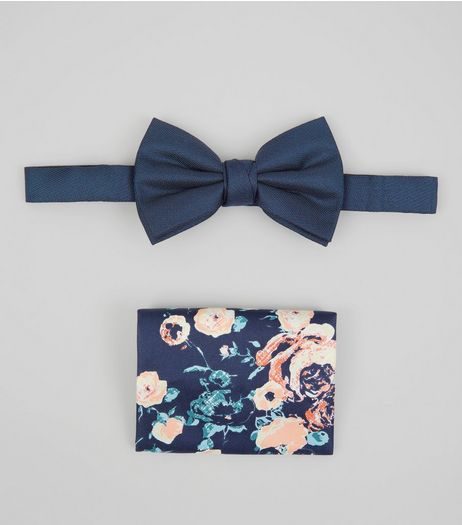 Blue Bow Tie and Floral Pocket Square Set | New Look