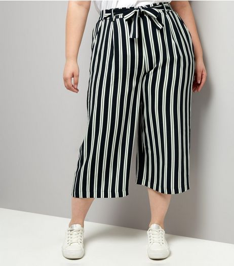 Curves Navy Stripe Tie Waist Wide Leg Cropped Trousers | New Look