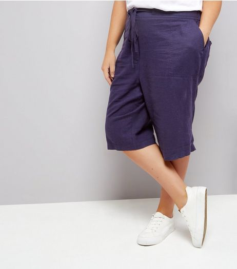 Curves Navy Linen Blend Shorts | New Look