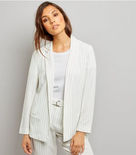 White Pinstripe Jacket | New Look