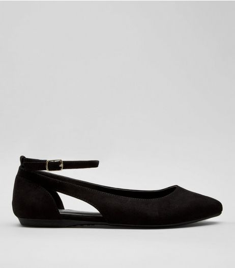 Teens Black Suedette Cut Out Side School Pumps | New Look