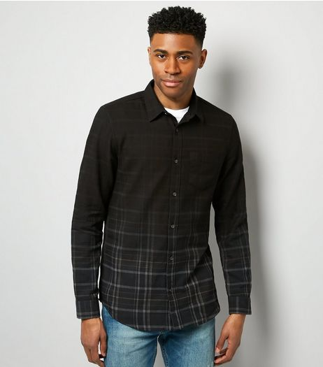 Navy Dip Dye Check Long Sleeve Shirt | New Look