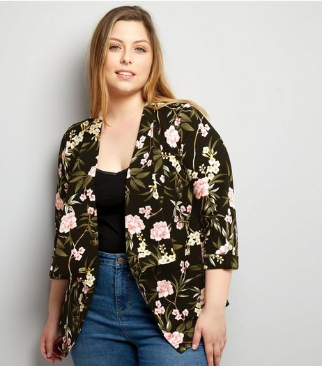 Curves Black Floral Crepe Blazer | New Look