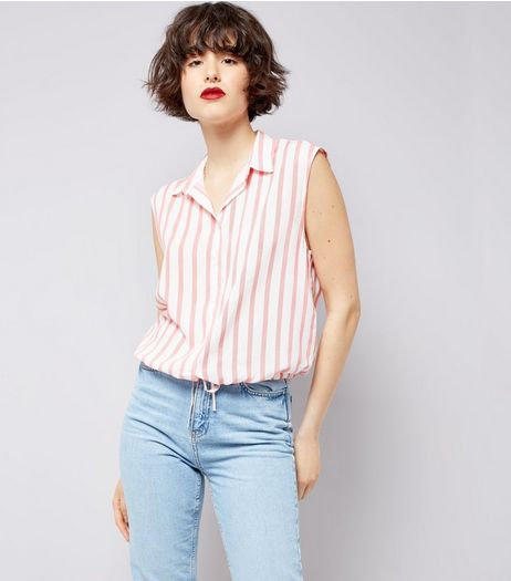 White Stripe Drawstring Hem Sleeveless Shirt  | New Look