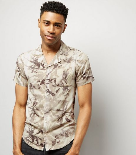 Cream Palm Print Short Sleeve Shirt | New Look