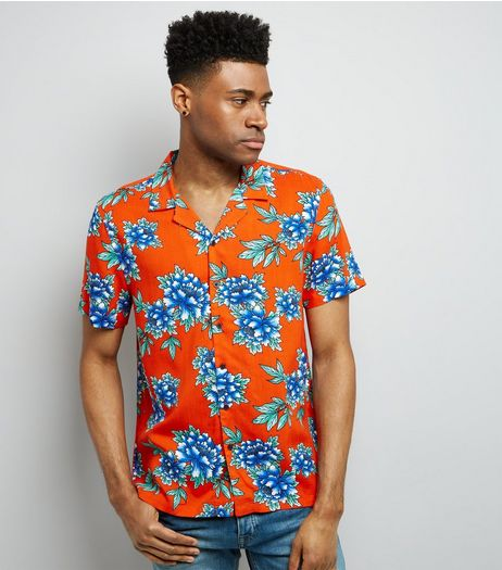 Red Tropical Floral Print Short Sleeve Shirt | New Look