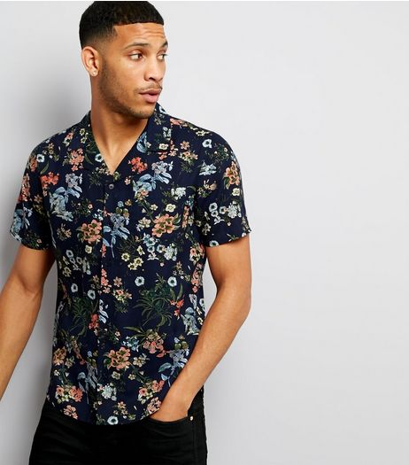 Navy Floral Print Short Sleeve Shirt | New Look