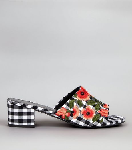 Black Gingham Floral Embroidered Mules | New Look