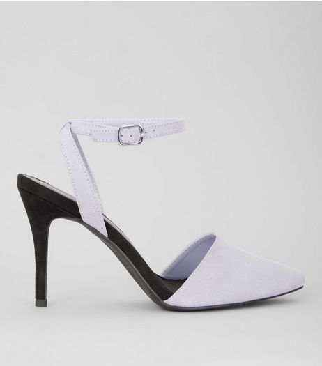 Lilac Suedette Colour Block Pointed Heels | New Look