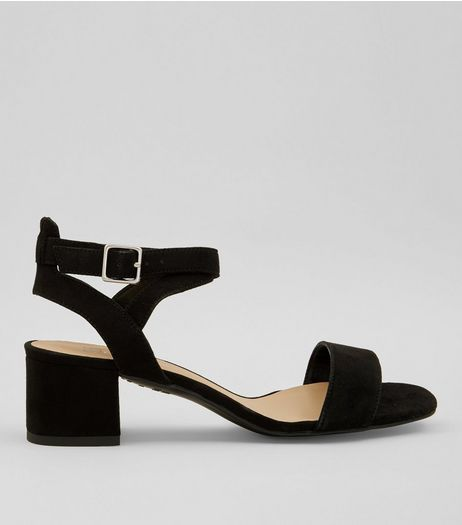 Teens Black Suedette Mid Block Heels | New Look