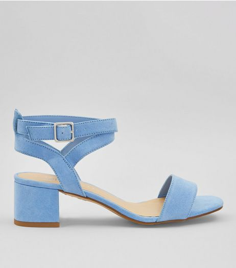 Teens Pale Blue Suedette Low Block Heels | New Look