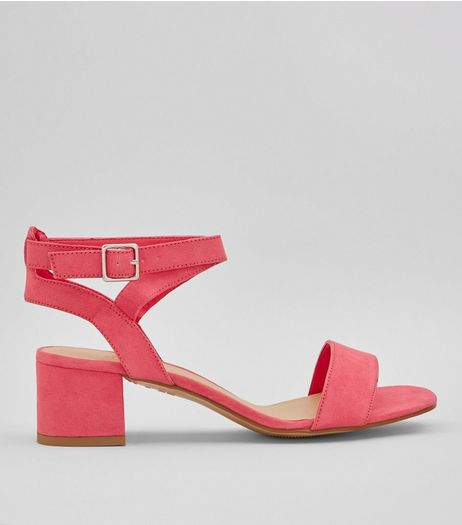 Teens Pink Suedette Mid Block Heels | New Look