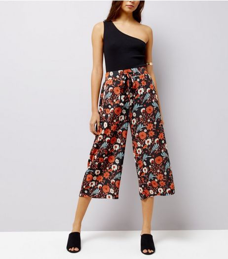 Blue Vanilla Black Floral Print Cropped Trousers | New Look