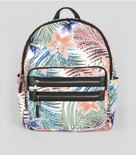 White Tropical Print Backpack | New Look
