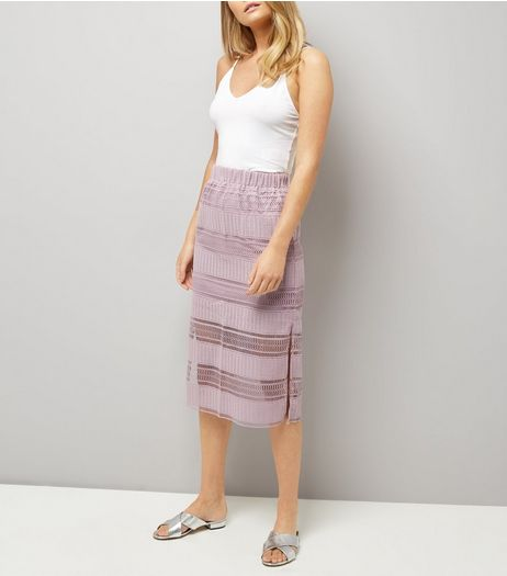 Lilac Crochet Lace Trim Midi Skirt  | New Look