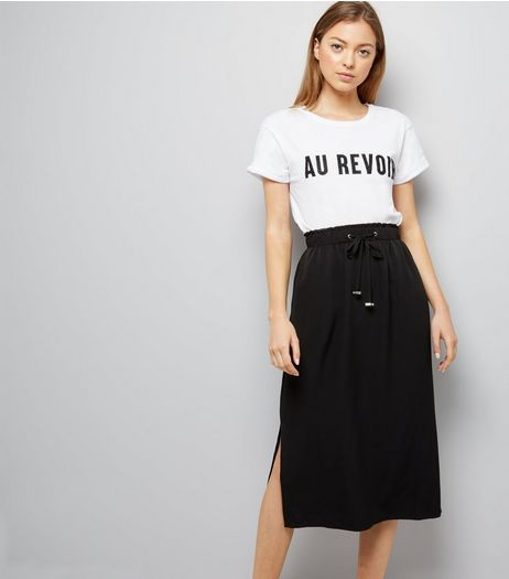 Black Drawstring Waist Split Side Midi Skirt  | New Look