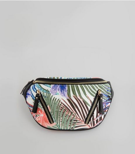 White Tropical Print Bumbag | New Look