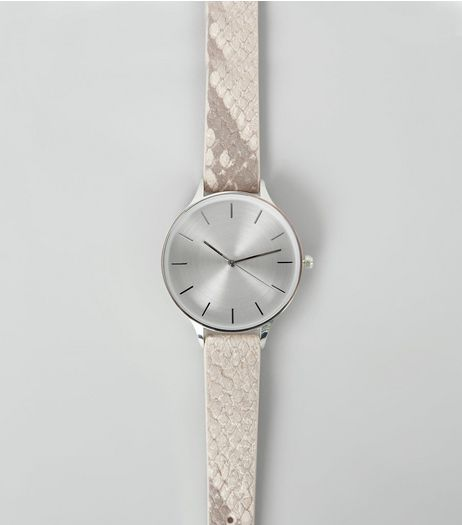 Grey Snakeskin Textured Strap Watch | New Look