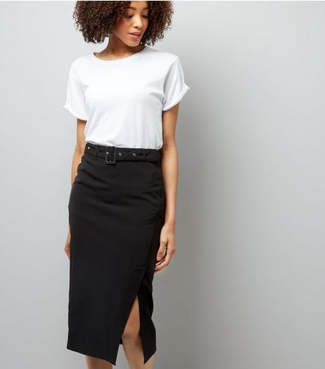 Black Belted Wrap Front Midi Skirt | New Look