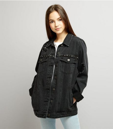 Black Ripped Stud Detail Denim Jacket | New Look