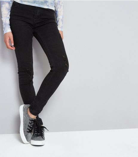 Teens Black Studded Waistband Skinny Jeans | New Look