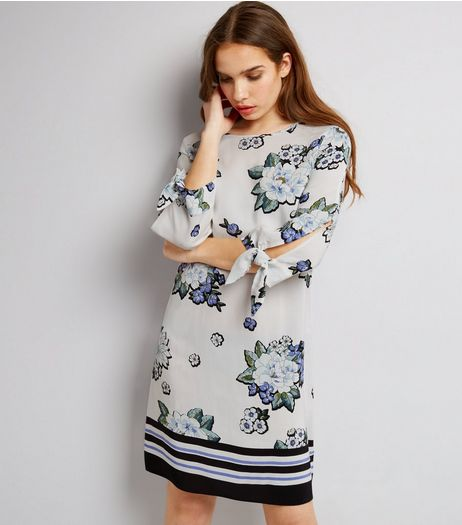White Floral Print Contrast Stripe Hem Tunic  | New Look