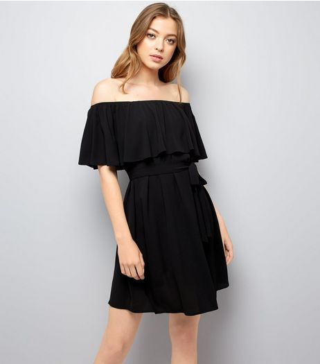 Black Frill Layered Bardot Neck Dress | New Look