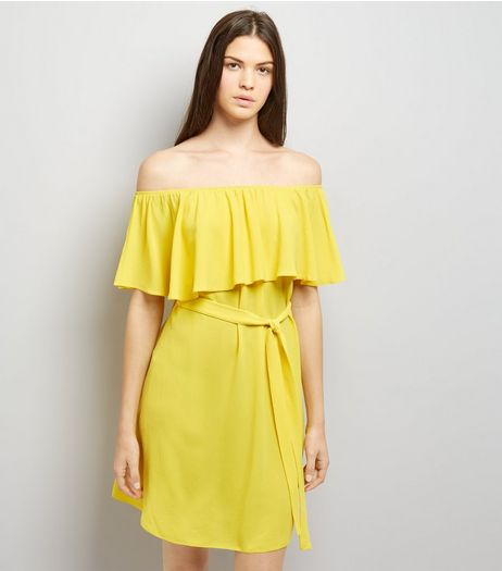 Yellow Frill Layered Bardot Neck Dress | New Look